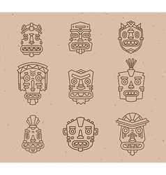 Set of ethnic tribal colorful masks on li vector
