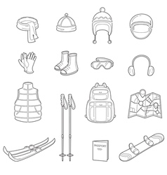 Winter equipment linear icons set vector