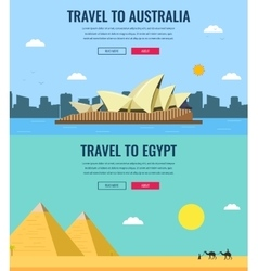 Travel composition with australia and egypt vector