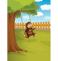 A monkey swinging on a tree vector