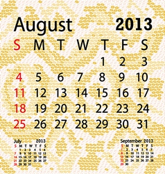 august 2013 calendar albino snake skin vector image