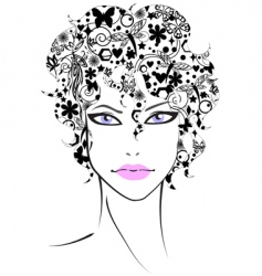 beautiful girl with flower hair vector image vector image