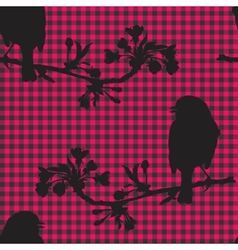 Birds on the branch of cherry vector image vector image