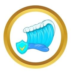 Blue tsunami wave icon vector