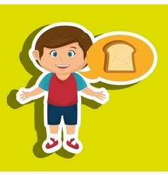 Boy cartoon bread slice vector