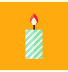 Candle with Fire Christmas Flat Icon vector image