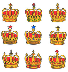 Collection king crown of doodles vector