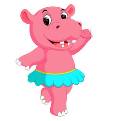 Cute hippo dancing cartoon vector
