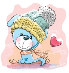 Cute Puppy in a knitted cap vector image vector image