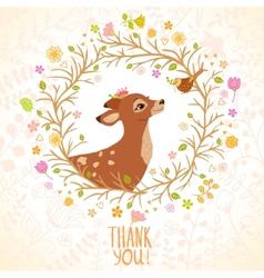 Deer and bird vector