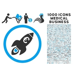 Euro Rocket Startup Icon with 1000 Medical vector image vector image