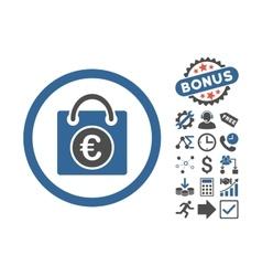 Euro shopping bag flat icon with bonus vector