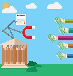 Flat design concept for payed education proces vector image