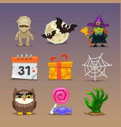 funny halloween icons-set 2 vector image vector image