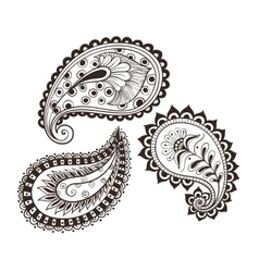 Hand-drawing set paisley vector