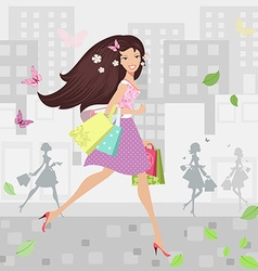 Happy girl walking around town with shopping bags vector image