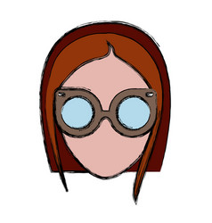 hipster woman icon vector image