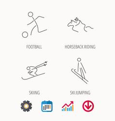 Horseback riding football and skiing icons vector