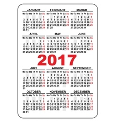 Pocket calendar 2017 First day Monday vector image vector image