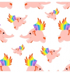 seamless pattern pink flying elephant vector image vector image