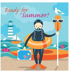 Summer Sea Diver with Swim Objects vector image
