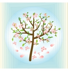 Tree with pink blossom spring theme on abstract vector