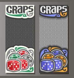vertical banners for craps gamble vector image vector image