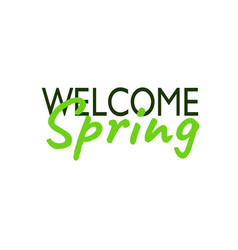 Welcome spring inscription lettering card vector
