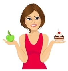 woman choosing between green apple and cake vector image