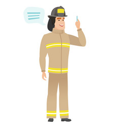 young caucasian firefighter with speech bubble vector image