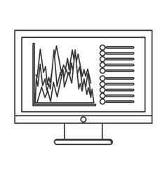 Computer with graph chart icon vector