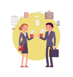 Office workers drinking coffee vector image