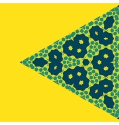 Triangle green on yellow symmetry ornament pattern vector