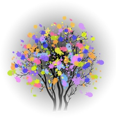 Tree with colorful spots vector