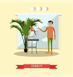 buying a parrot in flat style vector image