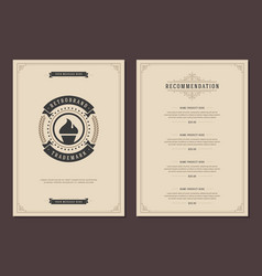 Restaurant logo and menu cover design vector
