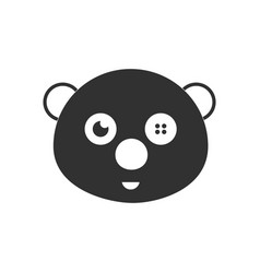 black icon on white background teddy bear face vector image