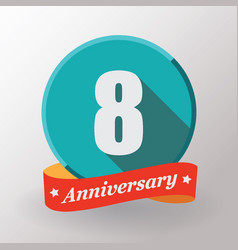 8 anniversary label with ribbon vector