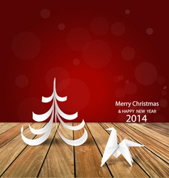 2014 happy new year greeting card origami paper vector