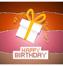 Happy birthday torn paper retro background with vector