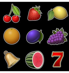 Slot machine fruit symbols vector