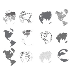 Set of design elements-dotted globes vector