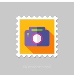 Photo Camera flat stamp with long shadow vector image