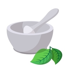Grinding herbs bowl cartoon icon vector