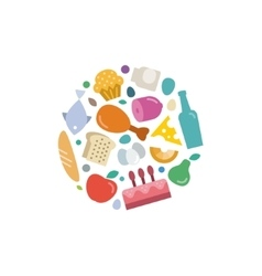 Unique set of flat icons food under the logo vector