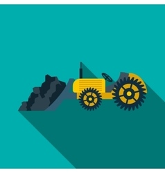 Bulldozer loading coal icon flat style vector