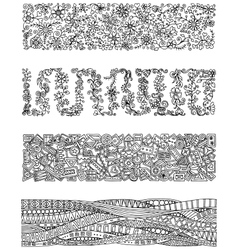 Floral set of horizontal borders for your design vector