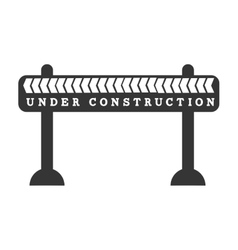 Under construction barrier in black and white icon vector