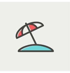 Beach umbrella thin line icon vector image