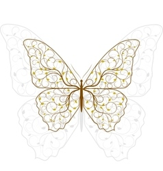 Beautiful butterfly with plant pattern vector